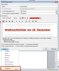 Texteffekte in Word 2010 als Formatvorlage  speichern