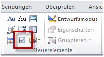 Kontrollkästchen-Inhaltssteuerelement in Word 2010