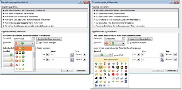 Excel 2010: Symbolsatz-Zusammensetzung