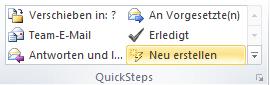 Outlook 2010 Einen neuen QuickStep anlegen