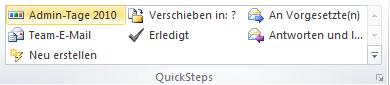 Outlook 2010 Kurzer Name für QuickStep