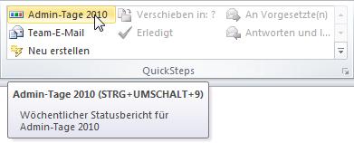 Outlook 2010 Den neuen QuickStep aufrufen