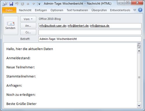 Outlook 2010 Der neue QuickStep generiert die fertige E-Mail