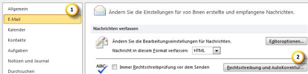 AutoKorrektur-Einstellungen in Outlook 2010 optimieren Teil 1