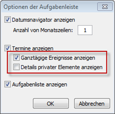 Outlook 2010: Aufgabenleiste-Optionen