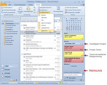 Outlook 2010: Posteingang mit Aufgabenleiste