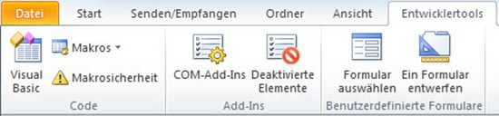Entwicklertools in Outlook 2010