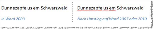 Word 2010 hat Probleme mit meiner Schwarzwälder Rechtschreibung