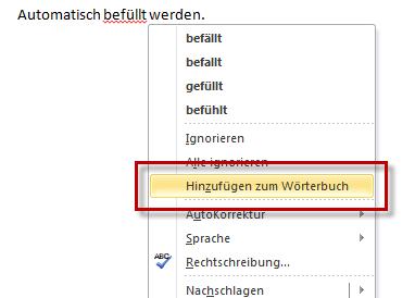 Word 2010: Benutzerwörterbuch ergänzen