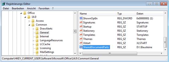 "Word 2010: In der Registry ""SharedDocumentParts"" anlegen"