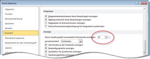 Excel 2010: Liste zuletzt verwendeter Dateien einrichten