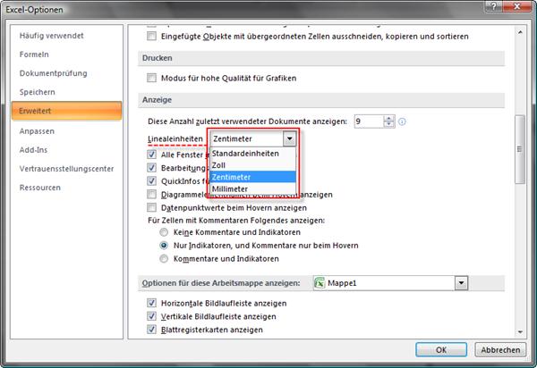 Excel 2010: In den Optionen die Linealeinheit einstellen