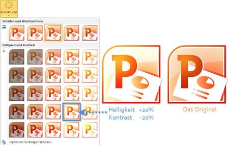 PowerPoint 2010: Korrekturen durch Kombinationen von Helligkeit und Kontrast