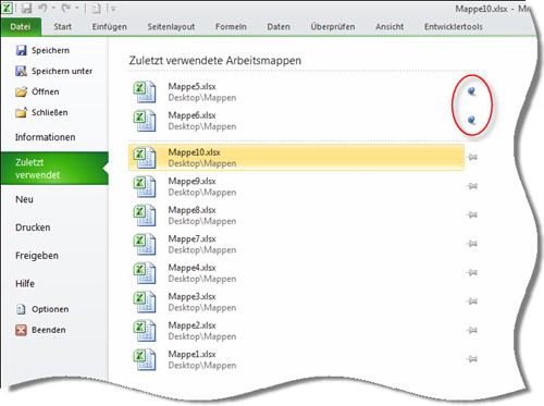 Excel 2010: Liste zuletzt verwendeter Dateien - blaue Pins