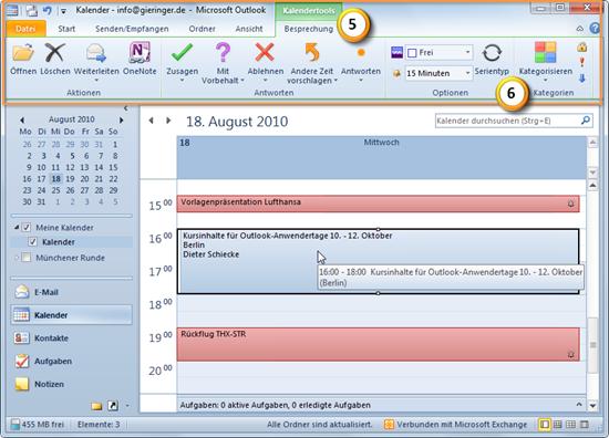 Registerkarte Kalendertools