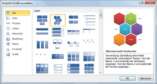 PowerPoint 2010: SmartArt-Grafik auswählen