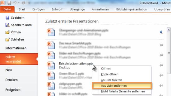 Dateien aus Liste entfernen