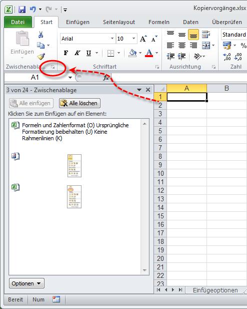 Excel 2010: Auf Zwischenablage zugreifen