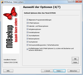Outlook 2010: Das kann MOBackup sichern Teil 2