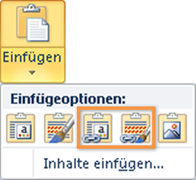 PowerPoint 2010: Optionen beim Einfügen eines Excel-Diagramms