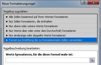 Excel 2010: Dialogfeld der Bedingten Formatierung für formelbasierte Regel