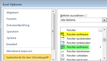 Excel 2010: 2 x Befehl Einfrieren, aber nur einer ist richtig