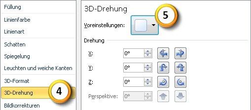 PowerPoint 2010: Dialogfeld für 3D-Drehung