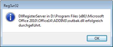 Outlook 2010: Die Registrierung von OUTBAK.DLL war erfolgreich