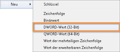 Outlook 2010: In der Registry einen neuen DWORD-Wert anlegen