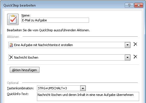 """Outlook 2010: Die Einstellungen beim Definieren des Quick Steps """"E-Mail  zu Aufgabe"""""""