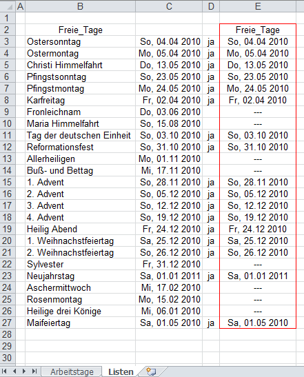 Excel 2010: Bei Berechnung der Nettoarbeitstage die freien Tage berücksichtigen