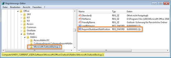 Outlook 2010: Die Registry nach dem Eingriff
