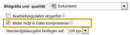 Word 2010: Bildkomprimierung ausgeschaltet