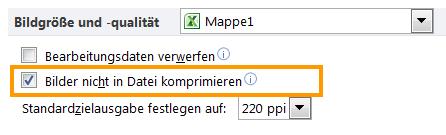 Excel 2010: Bildkomprimierung ausgeschaltet