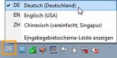 Windows: Installierte Tastatursprachen über die Taskleiste anzeigen lassen
