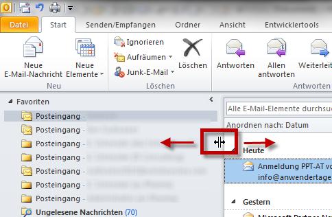 Outlook 2010: Die Breite des Navigationsbereichs anpassen
