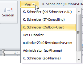 Outlook 2010: Auswahl zwischen mehreren E-Mail-Konten