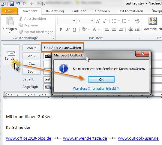 Outlook 2010: Automatische Aufforderung zur Kontoauswahl