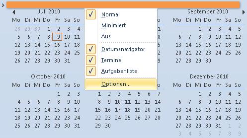 Outlook 2010: Die Optionen für den Aufbau der Aufgabenleiste noch schneller aufrufen
