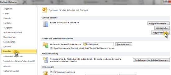 Outlook 2010: Optionen für die Aufgabenleiste
