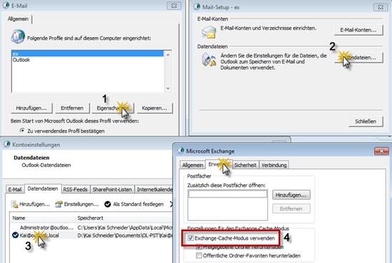 Outlook 2010: Der Weg zu den erweiterten Eigenschaften der OST-Datendatei
