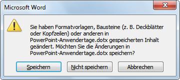 Word 2010: Das Deckblatt speichern