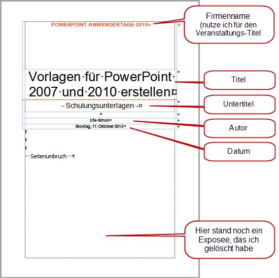Word 2010: Elemente des Deckblatts Traditionell