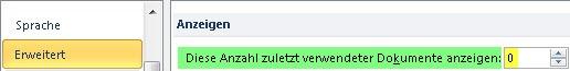 Über die Optionen die Anzahl der angezeigten Dateien auf Null stellen