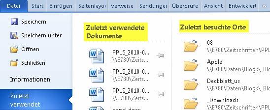"""Word 2010: Ausschnitt der Informationen unter """"Zuletzt verwendet"""""""