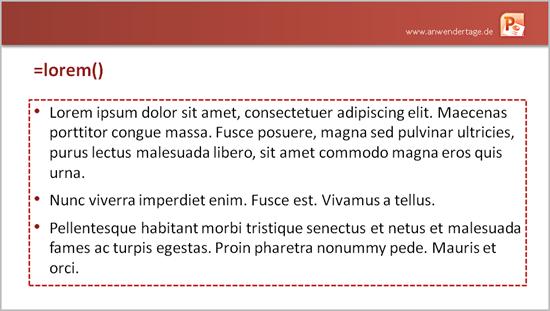 Blindtext in Office 2010 mit =lorem()
