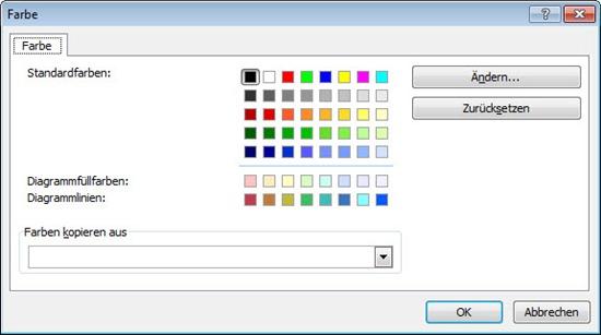 Excel 2010 Farben für Excel 2003