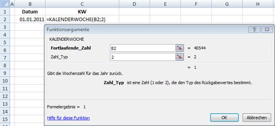 Kalenderwoche berechnen in Excel 2007