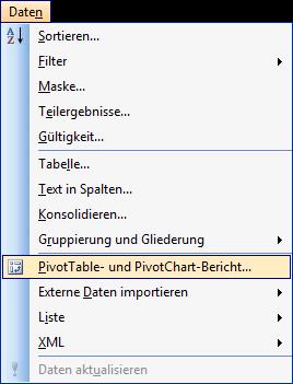 Pivot-Assistent aufrufen in Excel 2003