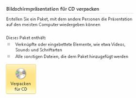 """Nach Installation des SP1: Korrigierte Beschreibung zum Befehl """"Verpacken für CD"""""""